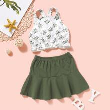 Toddler Girls Leaf Print Ruffle Hem Cami Top & Skirt