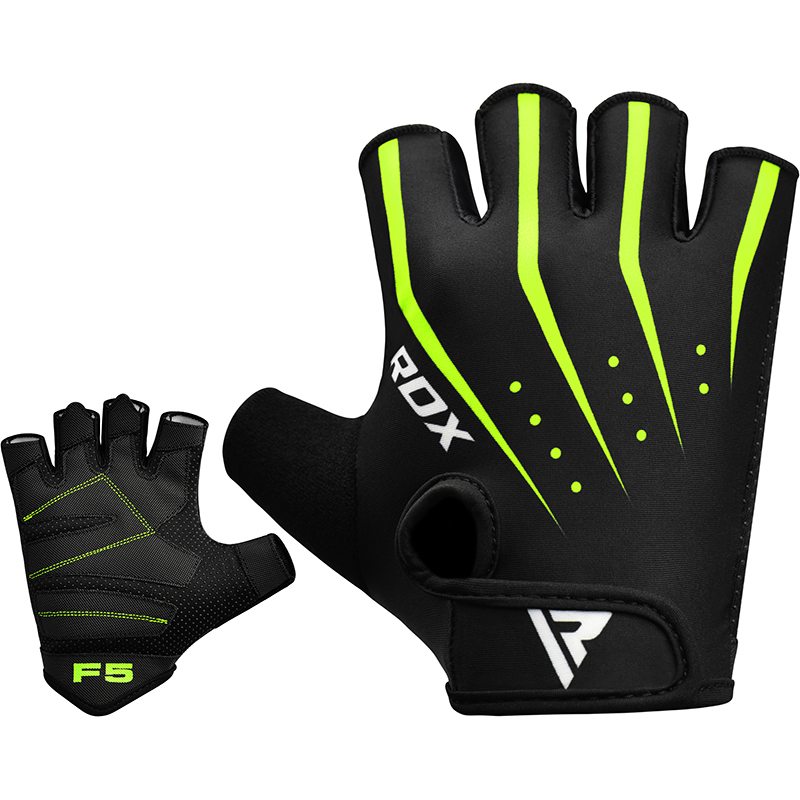 RDX F5 Weightlifting Gym Gloves Lycra Small Green/Black/White