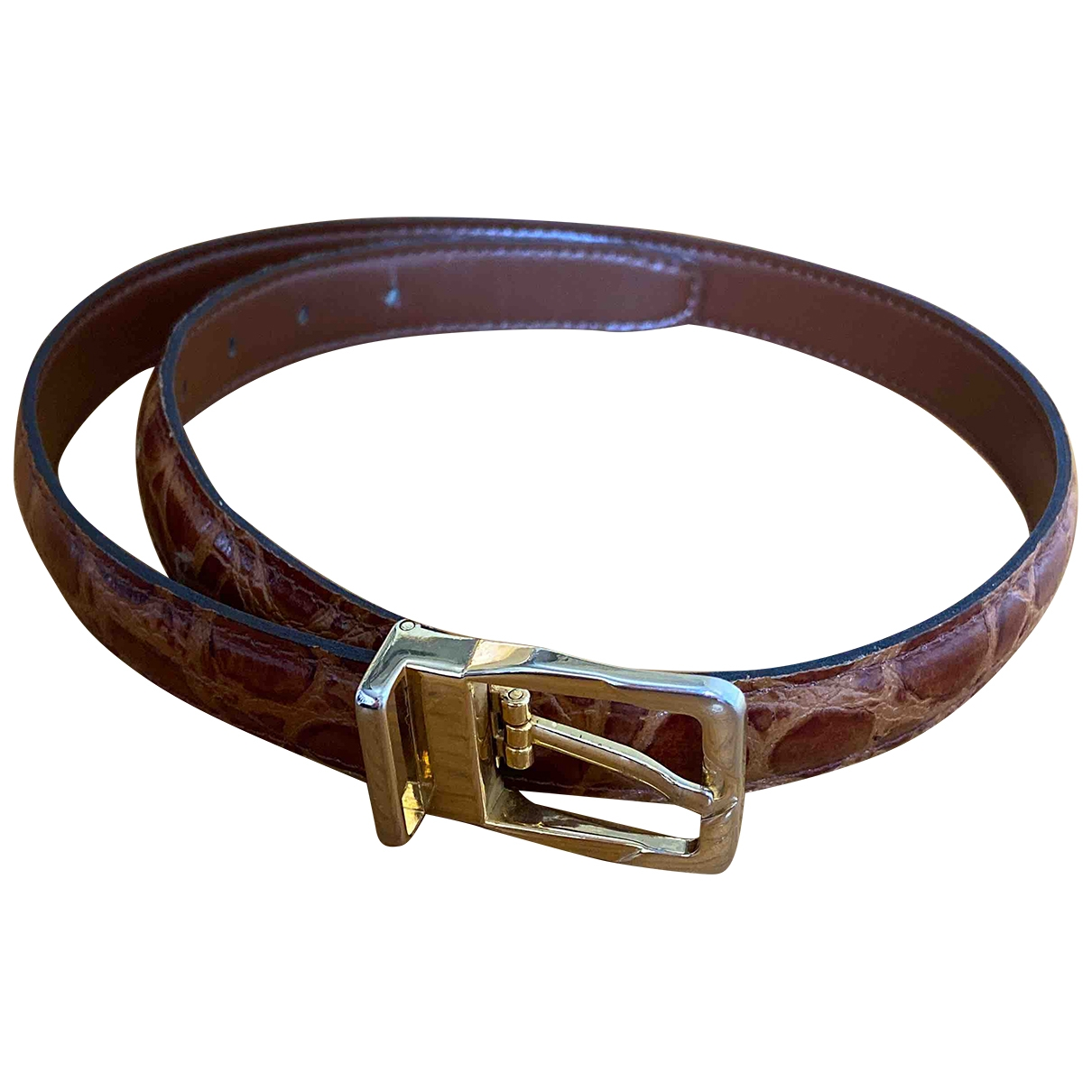 Non Signé / Unsigned \N Brown Leather belt for Women 75 cm