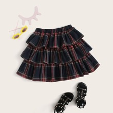 Girls Layered Ruffle Tartan Skirt