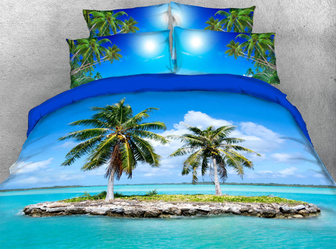 Palm Tree Island Beach Scenery 3D Coastal 4pcs Bedding Sets Zipper Colorfast Hard-wearing Duvet Cover with Corner Ties