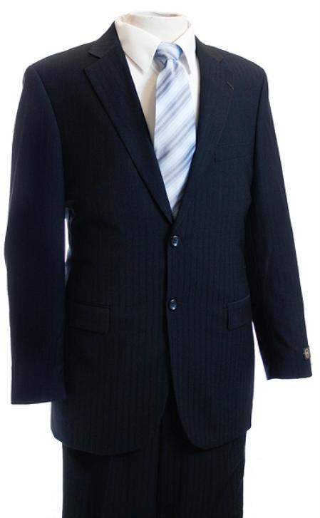 Mens Navy Tone/Tone Pinstripe Designer affordable suit online sale