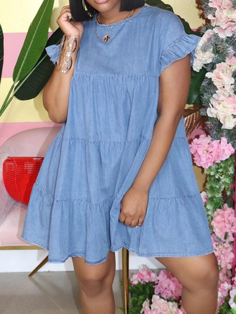Ericdress Short Sleeve Pleated Above Knee Date Night/Going Out Flare Sleeve Dress