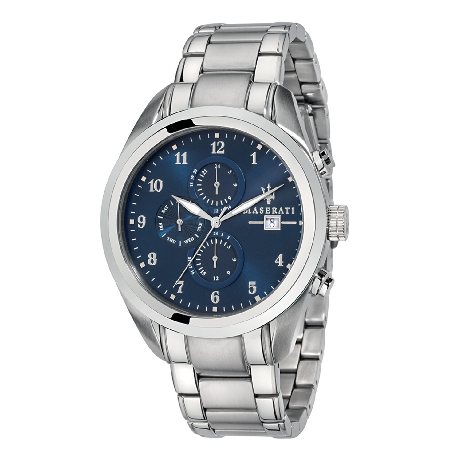 Maserati Watch R8853112505 Traguardo 24-Hour Display, Date Window, Day Sub-dial-Blue / Stainless Steel