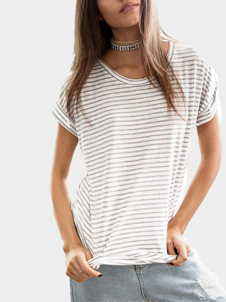 Yoins Fashion Round Neck Stripe Pattern T-shirt