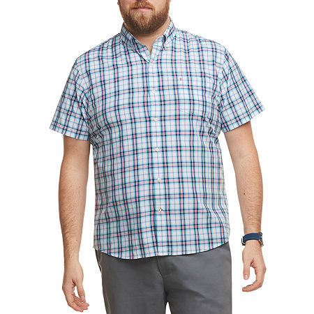 IZOD Big and Tall Mens Short Sleeve Button-Down Shirt, Large Tall , Blue