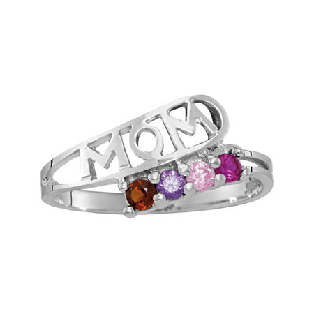 Personalized Sterling Silver Genuine Birthstone Mom Ring, 7 1/2 , No Color Family