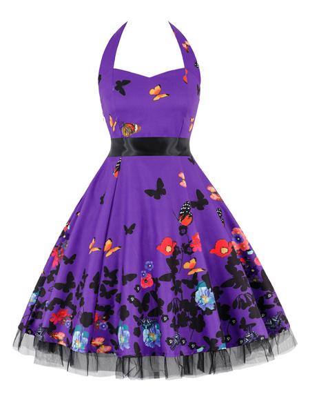 Milanoo Vintage Dress 1950s Animal Print Woman Sleeveless Straps Neck Rockabilly Dress