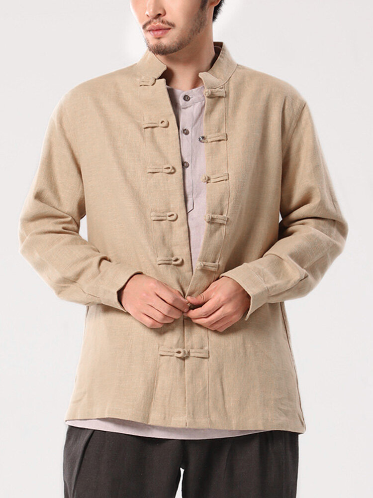 Mens Cotton Vintage Solid Chinese Button Stand Collar Shirt