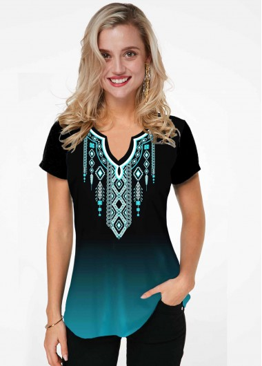 Tribal Print Ombre Split Neck T Shirt - L