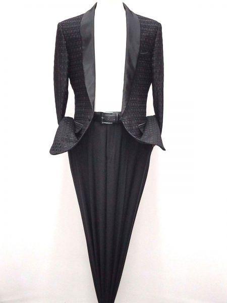 Mens Shiny Woven Designed Shawl Lapel Black Blazer