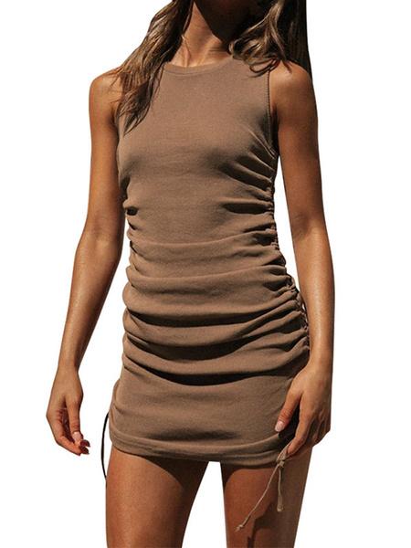 Milanoo Bodycon Dresses Drawstring Sleeveless Jewel Neck Sheath Dress