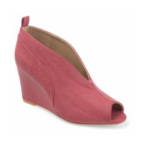 Journee Collection Womens Calista Pumps Wedge Heel, 9 1/2 Medium, Pink