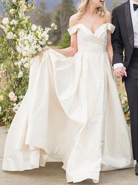 Milanoo Vintage Wedding Dresses Off The Shoulder Sleeveless Natural Waist Satin Fabric Court Train Sash Bridal Dress