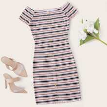 Lettuce Trim Buttoned Front Striped Dress