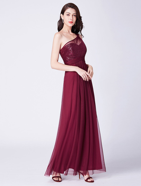 Milanoo Bridesmaid Dresses One Shoulder Long Burgundy Prom Dress Sequin Chiffon Formal Party Dress