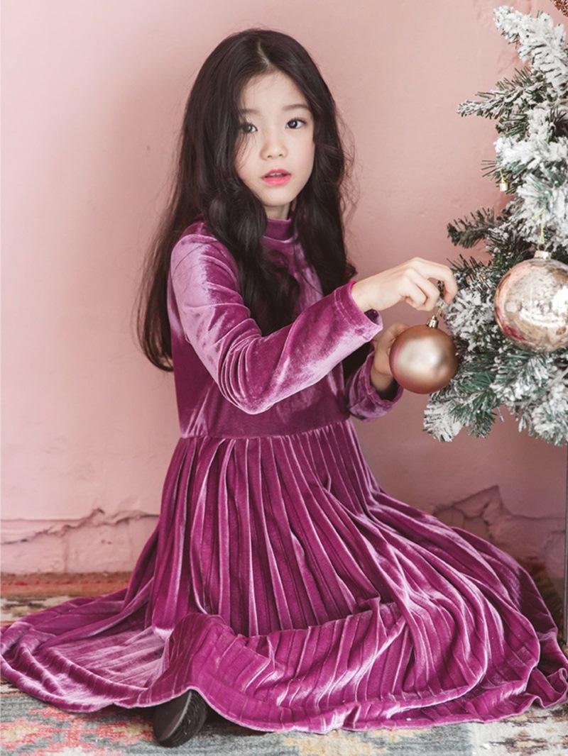 Ericdress Long Sleeve Pleated Corduroy Girl's Dress