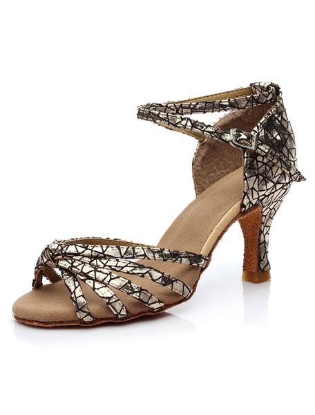 Milanoo Women Dance Shoes Peep Toe Criss Cross Latin Dancing Shoes Ballroom Shoes