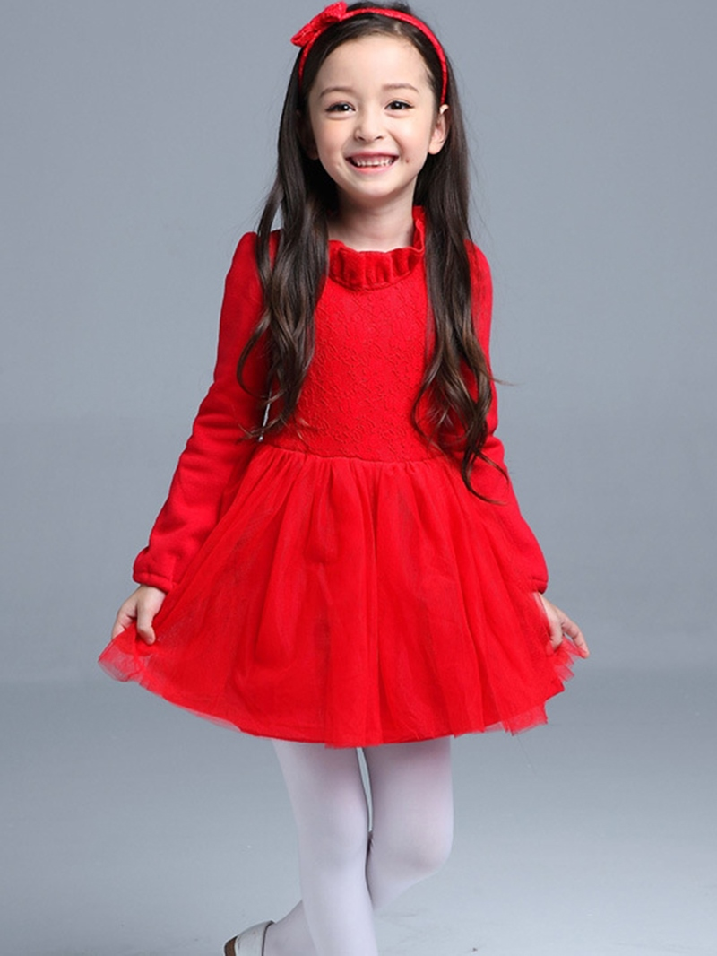 Ericdress Stand Collar Mesh Lace Patchwork Girl's Dress