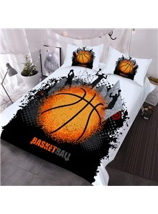 Street Basketball Sporty 3D Printed 3-Piece Polyester Comforter Sets