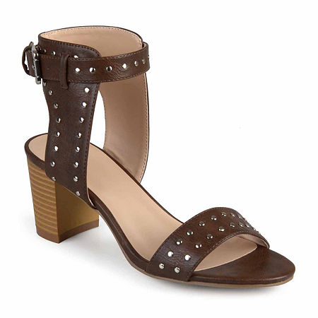 Journee Collection Womens Mabel Pumps Stacked Heel, 6 Medium, Brown