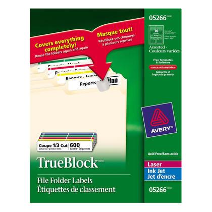 Avery@ TrueBock laser couleur / jet d'encre fichiers folder labels, 2/3