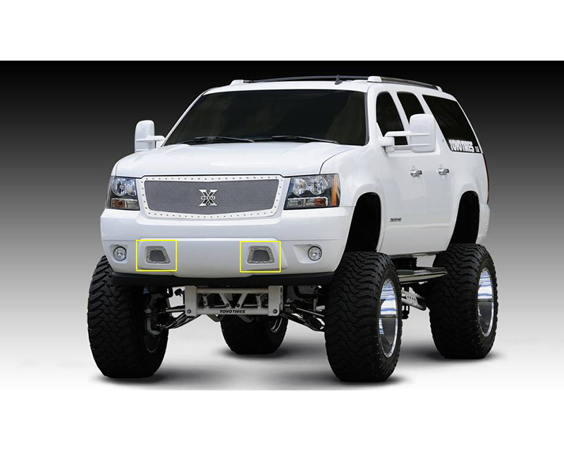 2007-2013 Avalanche, 07-14 Sub/Tahoe X-Metal Bumper Grille, Polished, 2 Pc, Overlay, Chrome Studs - PN #6720510