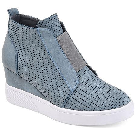 Journee Collection Womens Clara Wedge Sneaker, 7 1/2 Medium, Blue
