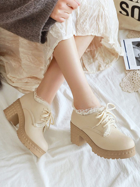 Milanoo Sweet Lolita Footwear Round Toe Chunky Heel PU Leather Lolita Shoes