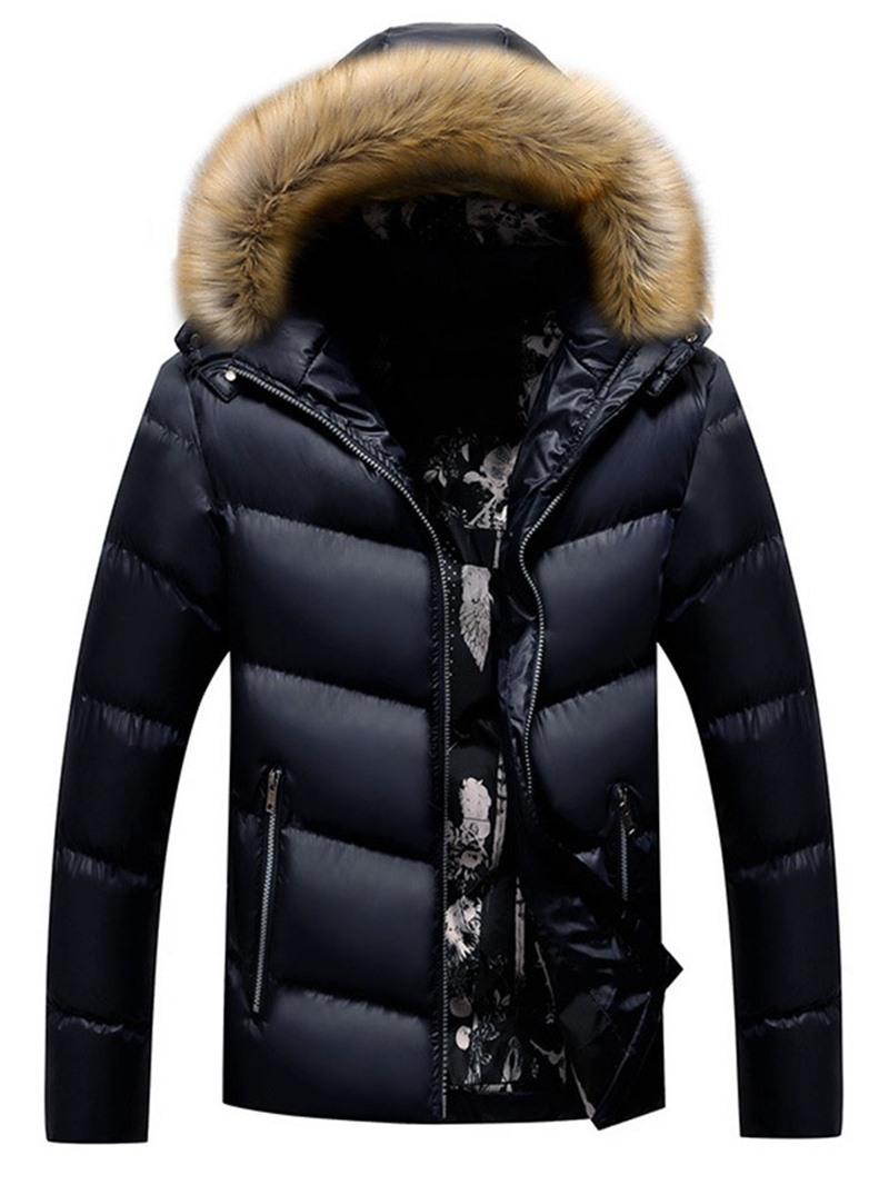 Ericdress Standard Patchwork Hooded Casual Zipper Men's Down Jacket