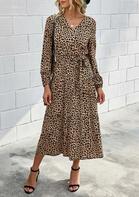 Leopard Ruffled Elastic Cuff Casual Dress