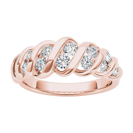 3.5MM 3/4 CT. T.W. Genuine White Diamond 14K Gold Wedding Band, 8 , Multiple Colors