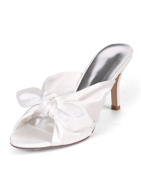 Milanoo Womens Satin Sandlas White Open Toe Slip-On Prom Shoes