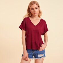 V-neck Rolled Cuff Batwing Sleeve Top