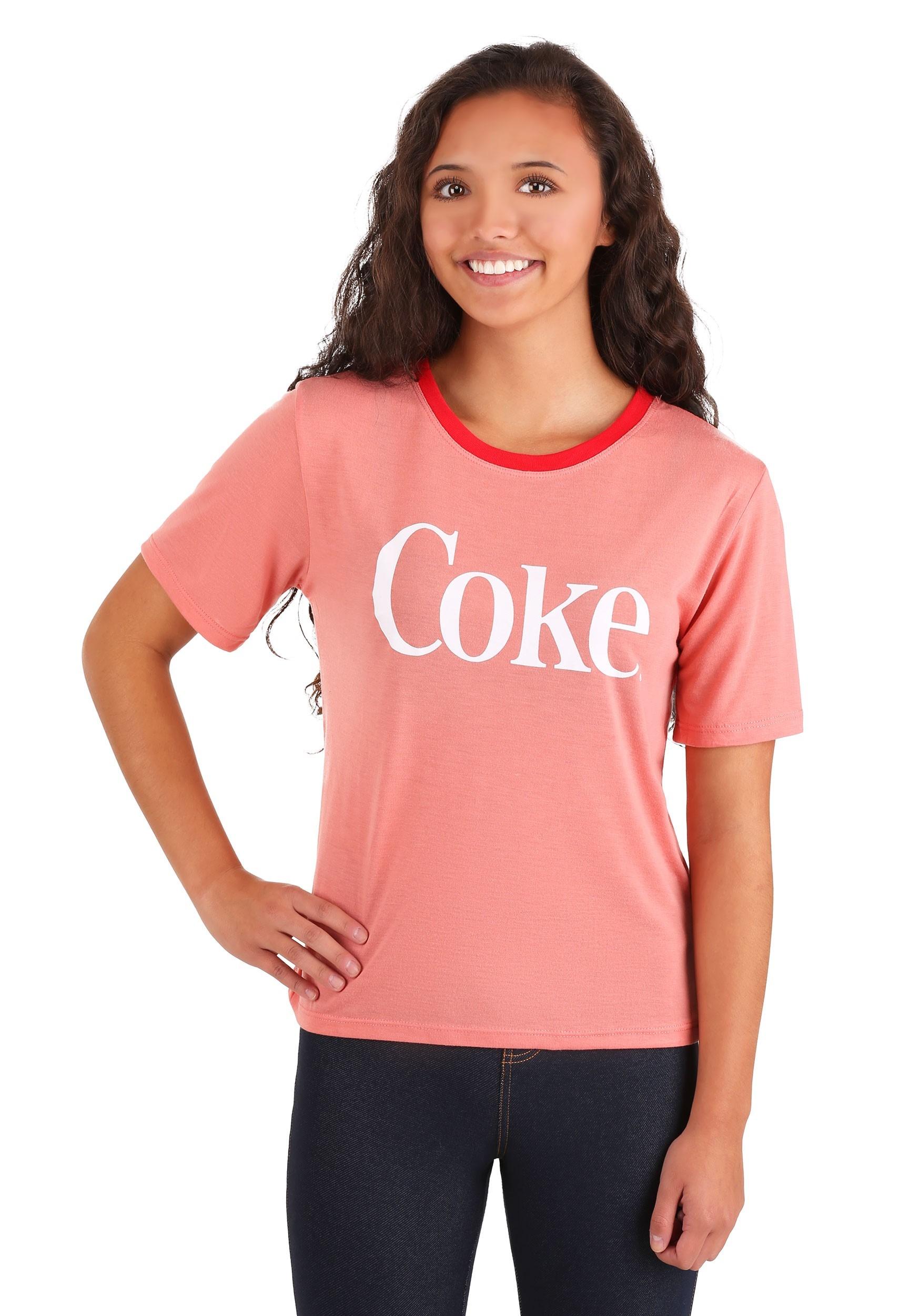 Enjoy Coke Red Contrast Neck Womens Tee
