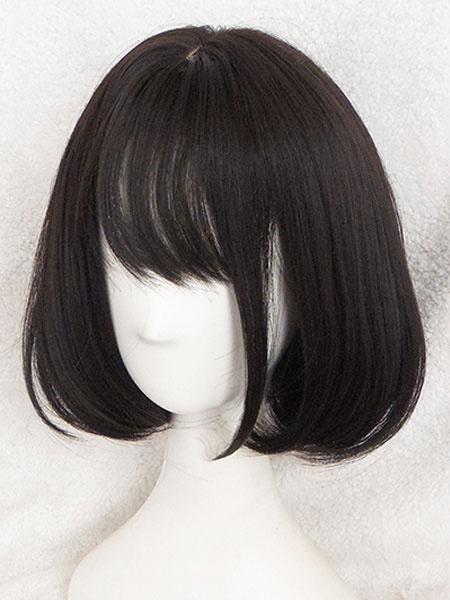 Milanoo Short Lolita Wigs Straight Kawaii Rinka Haircut With Bang In Matte Black