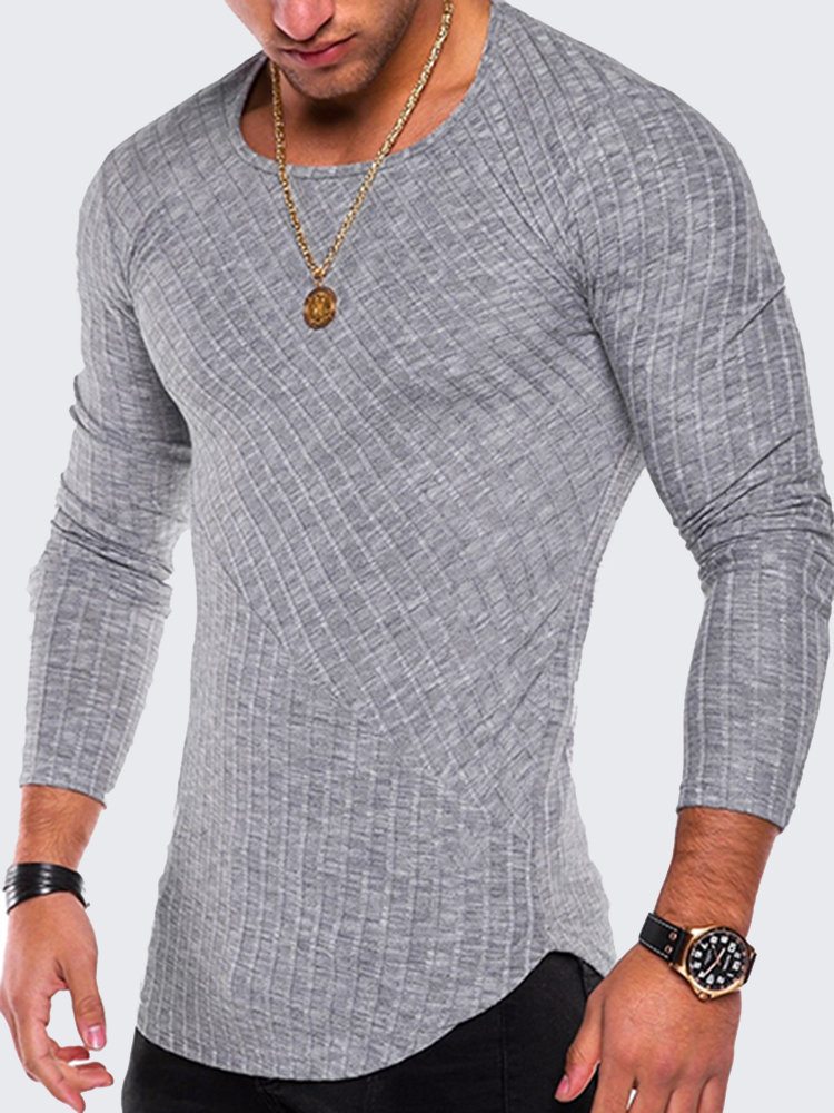 Mens Fashion Tee Solid Color Long-Sleeved O-Neck Slim Fit Casual T Shirt