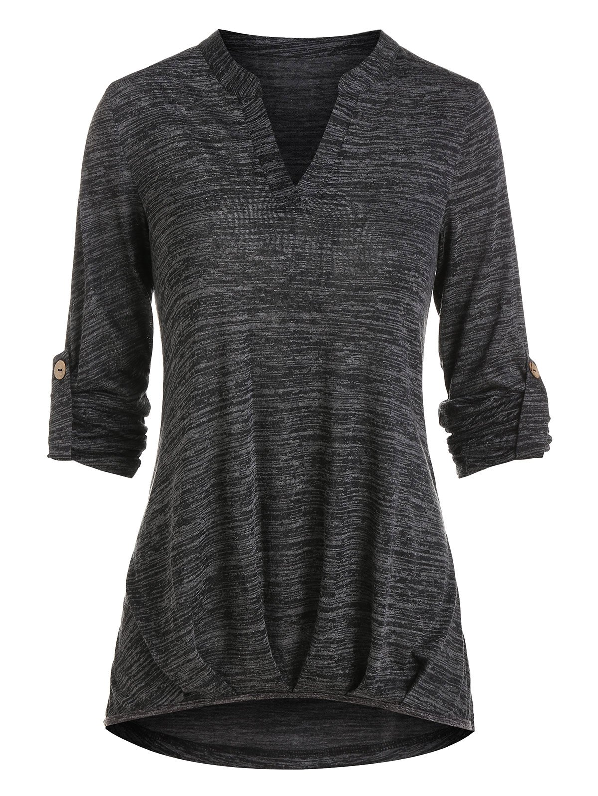V Notched Space Dye High Low T Shirt