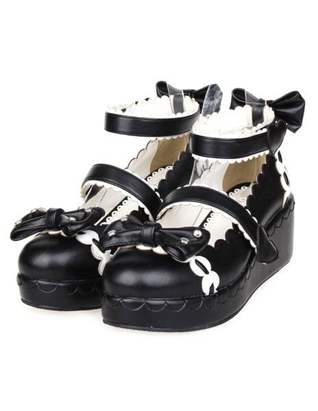 Milanoo Sweet Lolita Shoes Platform Ankle Strap Bows Decor White Trim