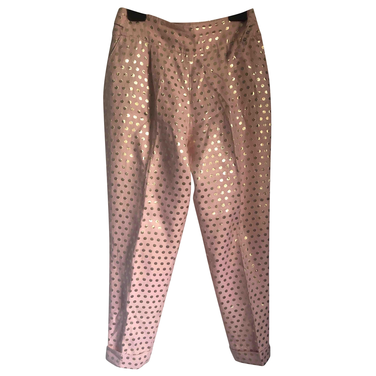 Temperley London \N Pink Cotton Trousers for Women 12 UK