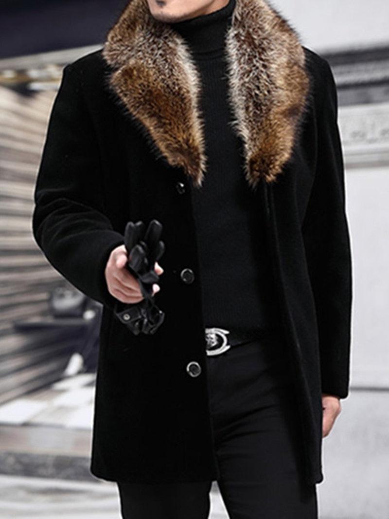 Ericdress Mid-Length Patchwork Notched Lapel Fall Men's Slim Coat
