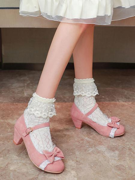 Milanoo Sweet Lolita Footwear Pink RufflesBows Round Toe Suede Nap Lolita Shoes