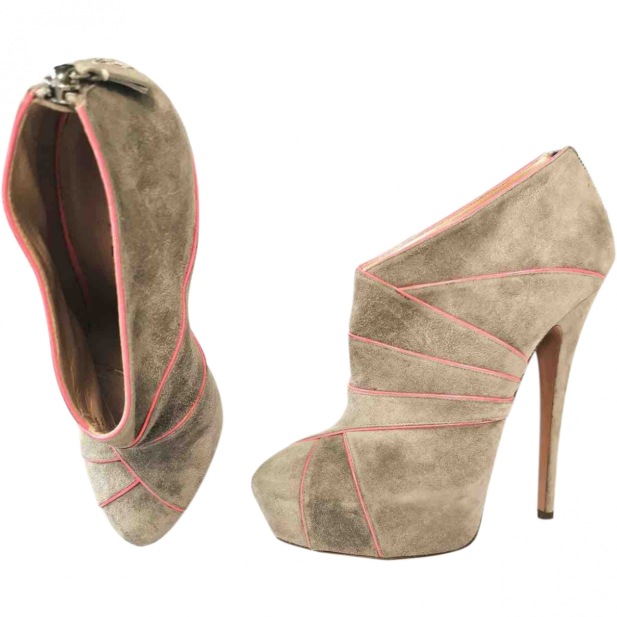 Casadei \N Grey Suede Ankle boots for Women 40 EU