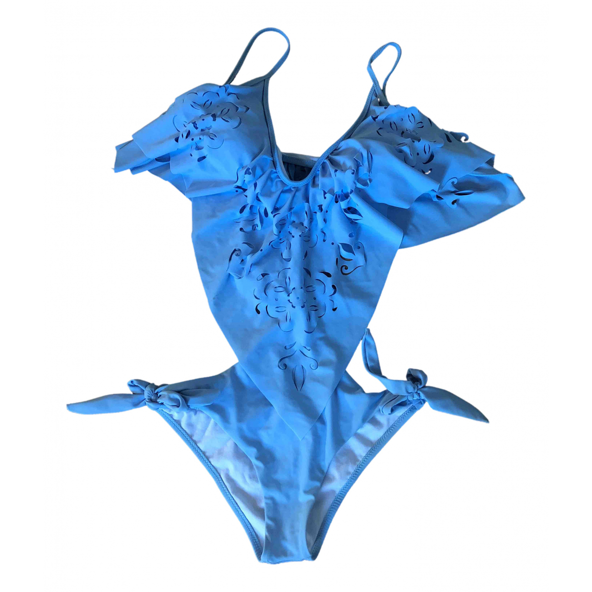 Non Signé / Unsigned Hippie Chic Turquoise Lycra Swimwear for Women M International