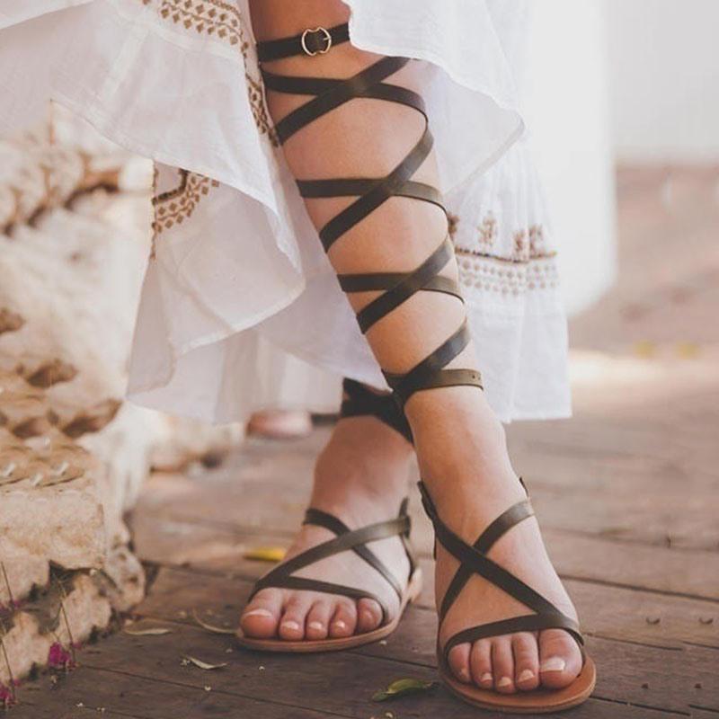Ericdress PU Ankle Strap Buckle Women's Flat Sandals