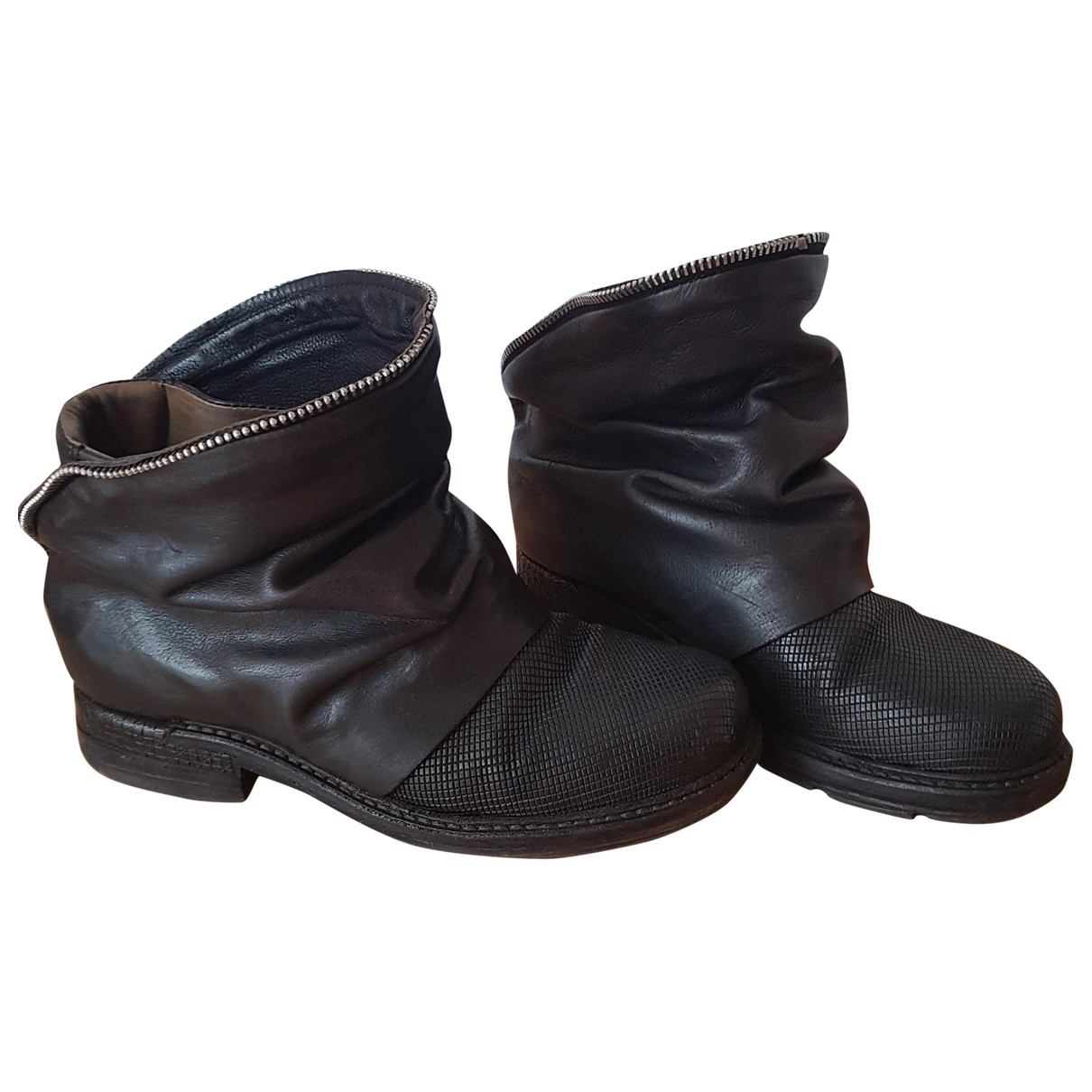 A.s.98 \N Black Leather Ankle boots for Women 36 EU