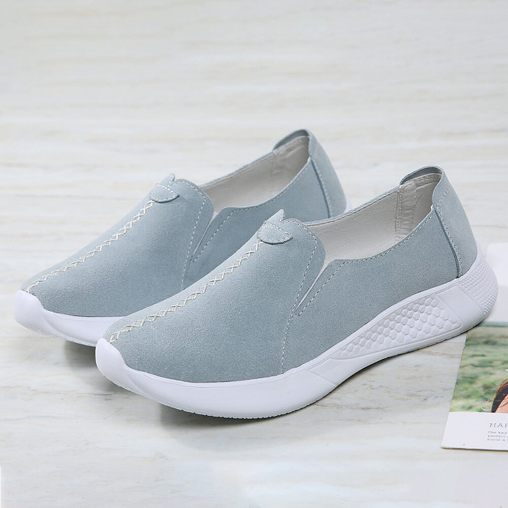 Women Stitching Decor Lightweight Comfy Non Slip Soft Casual Slip On Loafers