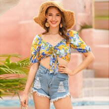 Floral Drawstring Front Crop Top