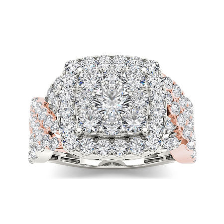 2 CT. T.W. Diamond 10K Two-Tone Gold Engagement Ring, 8 , No Color Family