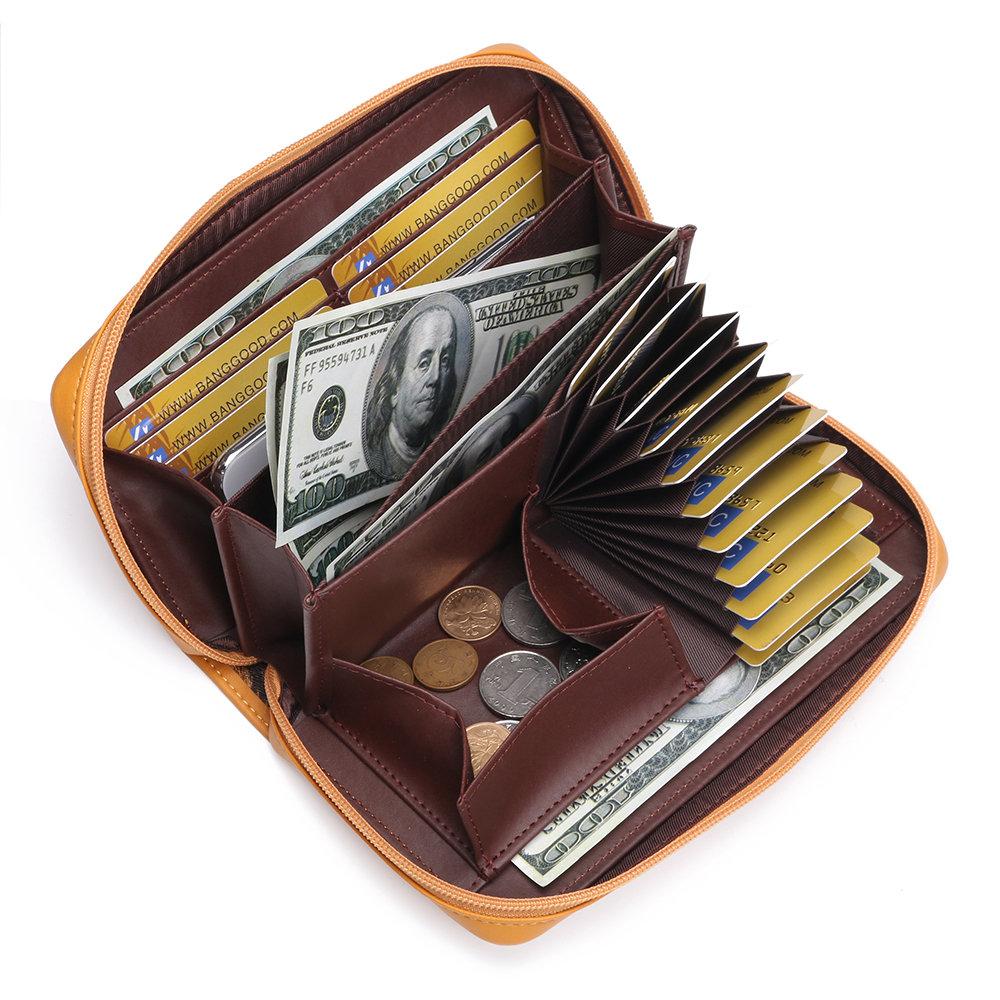 Women 17 Card Holder Wallet Soild Long Purse Coin Bag